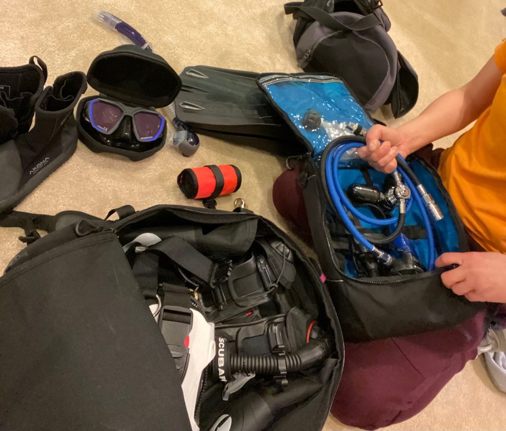 Diver packing for their trip